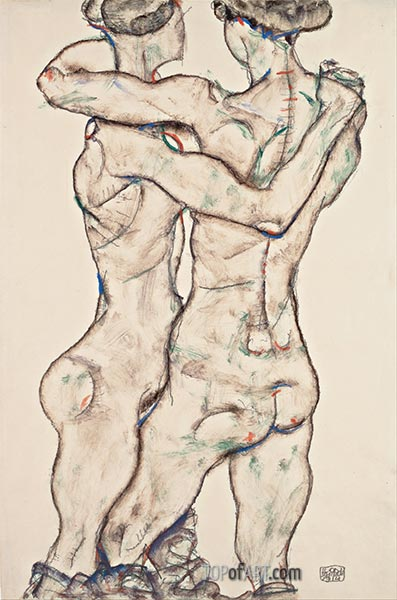 Naked Girls Embracing, 1914 | Schiele | Painting Reproduction