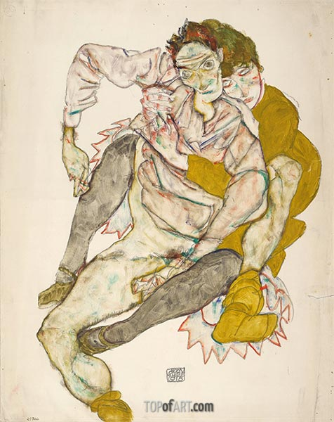 Seated Couple, 1915 | Schiele | Painting Reproduction