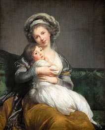 Self Portrait in a Turban and her Daughter Julie, 1786 by Elisabeth-Louise Vigee Le Brun | Painting Reproduction
