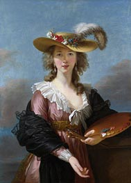 Self Portrait in a Straw Hat | Elisabeth-Louise Vigee Le Brun | Painting Reproduction