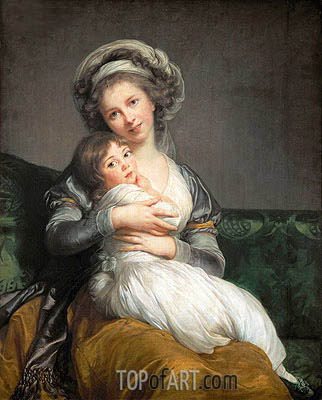 Self Portrait in a Turban and her Daughter Julie, 1786 | Elisabeth-Louise Vigee Le Brun | Painting Reproduction