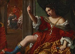 Portia Wounding Her Thigh, 1664 by Elisabetta Sirani | Painting Reproduction