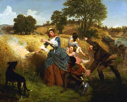 Mrs Schuyler Burning Her Wheat Fields on the Approach of the British, 1852 by Leutze | Painting Reproduction