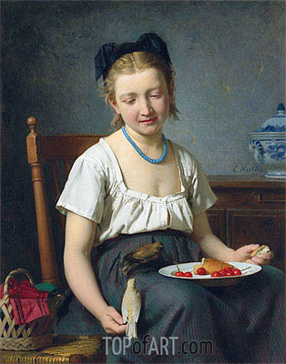 The Snack, 1870 | Emile Auguste Hublin | Painting Reproduction