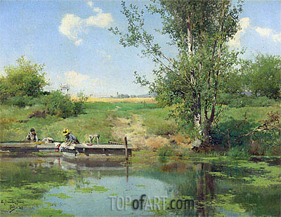 Laundry at the Edge of the River, 1882 | Emilio Sanchez-Perrier | Painting Reproduction