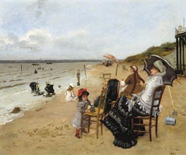 Mother and Daughter on the Beach, 1885 by Ernest-Ange Duez | Painting Reproduction