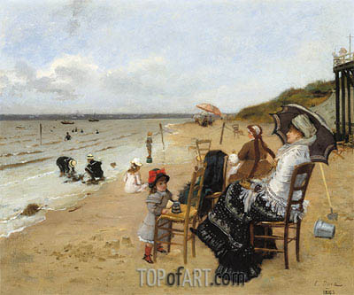 Mother and Daughter on the Beach, 1885 | Ernest-Ange Duez | Painting Reproduction