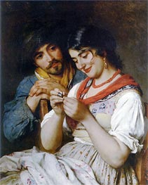 The Seamstress, 1884 by Eugen de Blaas | Painting Reproduction