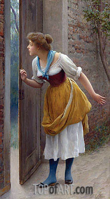 The Eavesdropper, 1906   Eugen de Blaas   Painting Reproduction