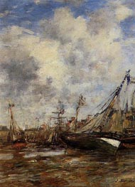Trouville, Low Tide, undated by Eugene Boudin | Painting Reproduction