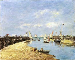 Trouville, the Jettys, Low Tide, 1896 von Eugene Boudin | Gemälde-Reproduktion