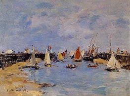 Trouville, the Jettys, Low Tide, 1896 by Eugene Boudin | Painting Reproduction