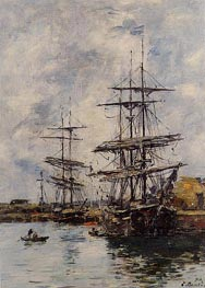 Deauville, Ships at Dock, 1896 by Eugene Boudin | Painting Reproduction