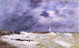 Le Havre, Heavy Winds off of Frascati, 1896 von Eugene Boudin | Gemälde-Reproduktion