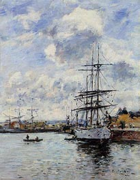 Deauville, the Basin, 1897 by Eugene Boudin | Painting Reproduction