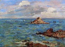 The Sea at Douarnenez, 1897 by Eugene Boudin | Painting Reproduction