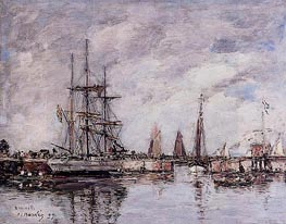 Deauville, Norwegian Three-Master Leaving Port, 1897 by Eugene Boudin | Painting Reproduction