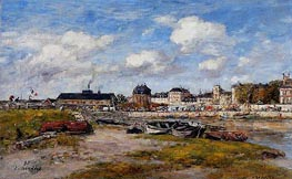 The Port of Trouville, Low Tide, 1897 von Eugene Boudin | Gemälde-Reproduktion