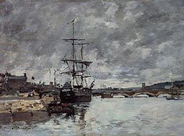 The Bridge over the Toques at Trouville, undated by Eugene Boudin | Painting Reproduction