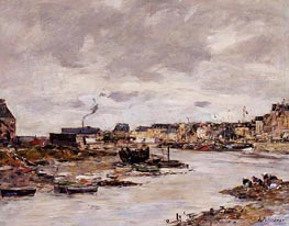 The Inner Port of Trouville at Low Tide, undated by Eugene Boudin | Painting Reproduction