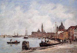 Venice, The Dock of the Guidecca, 1895 von Eugene Boudin | Gemälde-Reproduktion