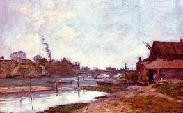 Bridge on the River Touques at Deauville, 1895 von Eugene Boudin | Gemälde-Reproduktion