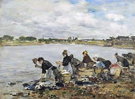 Laundresses on the Banks of the Touques, 1895 von Eugene Boudin | Gemälde-Reproduktion