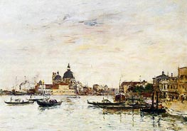 Venice, the Mole at the Entrance, 1895 von Eugene Boudin | Gemälde-Reproduktion
