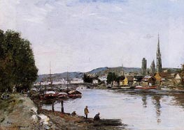 Rouen, View from the Queen's Way, 1895 von Eugene Boudin | Gemälde-Reproduktion