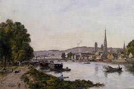 Rouen, View over the River Seine, 1895 von Eugene Boudin | Gemälde-Reproduktion