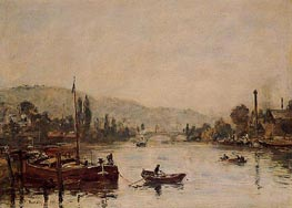 Rouen, the Sante-Catherine Coast, Morning Mist, 1895 von Eugene Boudin | Gemälde-Reproduktion