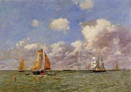 Fishing Boats at Sea, 1895 von Eugene Boudin | Gemälde-Reproduktion