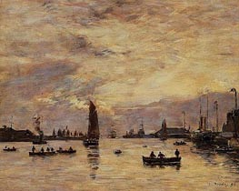 Le Havre, l'avant-port, 1894 by Eugene Boudin | Painting Reproduction
