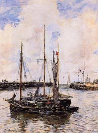 Entrance to the Port of Trouville, 1894 von Eugene Boudin | Gemälde-Reproduktion