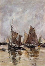 Trouville, Sardine Boats Getting Under Way, 1894 von Eugene Boudin | Gemälde-Reproduktion