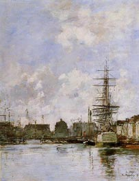 Le Havre, Commerce Basin, 1894 by Eugene Boudin | Painting Reproduction
