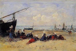 Berck, Fisherwomen on the Beach, Low Tide, 1894 von Eugene Boudin | Gemälde-Reproduktion
