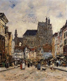 Abbeville, Street and the Church of Saint-Vulfran, 1894 von Eugene Boudin | Gemälde-Reproduktion