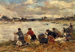 Laundresses on the Banks of the Touques, c.1894/97 von Eugene Boudin | Gemälde-Reproduktion