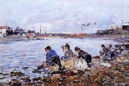 Laundress on the Banks of the Touques, c.1894/97 von Eugene Boudin | Gemälde-Reproduktion