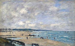 The Beach at Trouville, 1893 von Eugene Boudin | Gemälde-Reproduktion