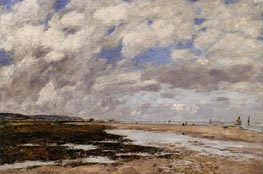 The Beach, Deauville, 1893 by Eugene Boudin | Painting Reproduction