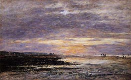 Deauville, Sunset on the Beach, 1893 von Eugene Boudin | Gemälde-Reproduktion