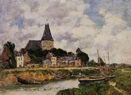Quillebeuf, View of the Church from the Canal, 1893 von Eugene Boudin | Gemälde-Reproduktion