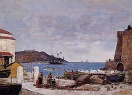 The Baye of Villefranche, the Port, 1892 von Eugene Boudin | Gemälde-Reproduktion