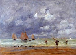Fishermen and Sailboats near Trouville | Eugene Boudin | Painting Reproduction