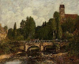 Saint-Cenery, the Church and the Bridge, 1892 von Eugene Boudin | Gemälde-Reproduktion