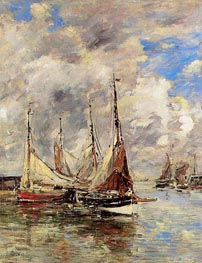 Trouville, the Piers, High Tide, c.1892/96 by Eugene Boudin | Painting Reproduction
