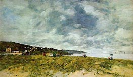 The Shore at Tourgeville, 1893 by Eugene Boudin | Painting Reproduction