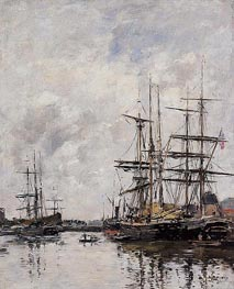 The Deauville Basin, 1891 by Eugene Boudin | Painting Reproduction